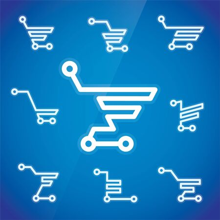 e store: Electronic Shopping Cart Illustration