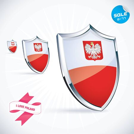 I Love Poland Flag Vector