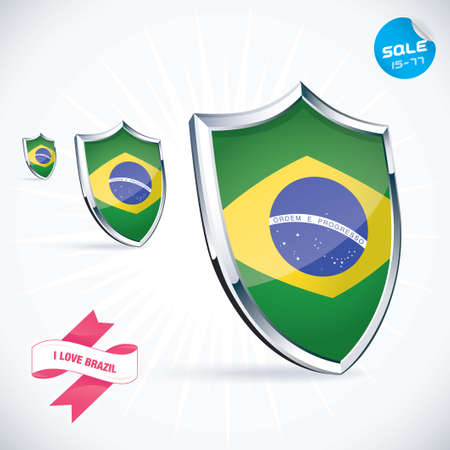 shiny shield: I Love Brazil Flag Illustration