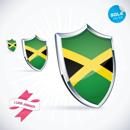 jamaican flag: I Love Jamaica Flag Illustration