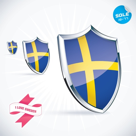I Love Sweden Flag Illustration Vector
