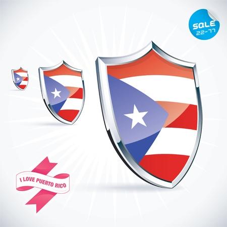 bandera de puerto rico: Amo Puerto Rico Flag Ilustración Vectores