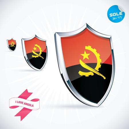 I Love Angola Flag Illustration Vector