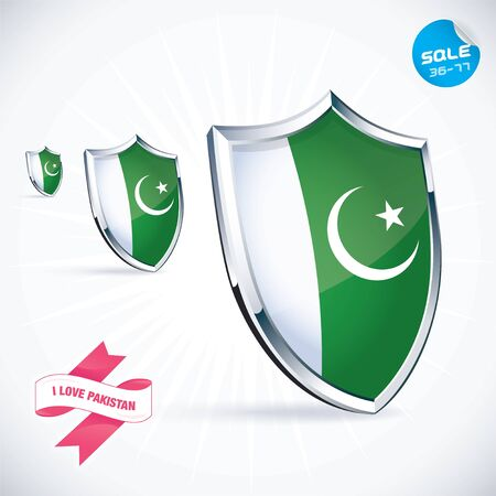 I Love Pakistan Flag Illustration Vector