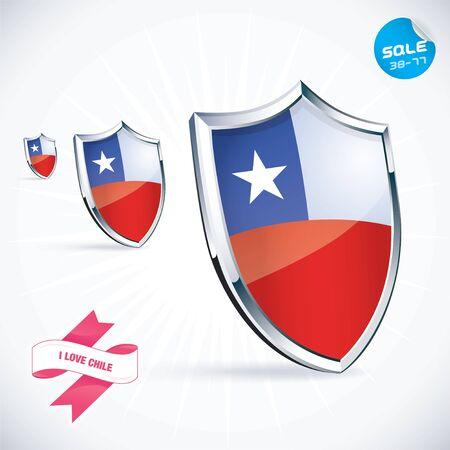 I Love Chile Flag Illustration Vector