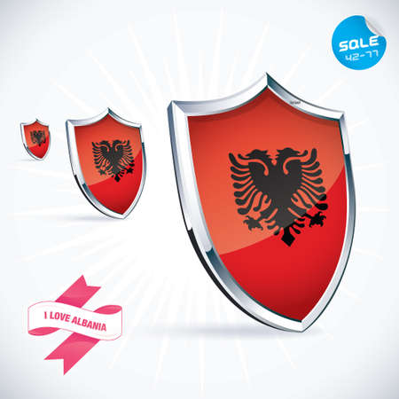 albanian: I Love Albania Flag Illustration