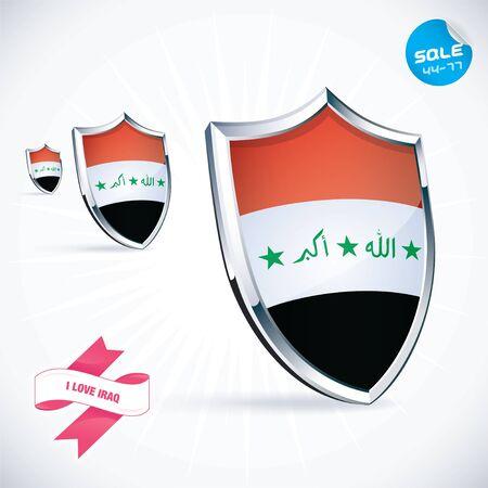 I Love Iraq Flag Illustration Vector