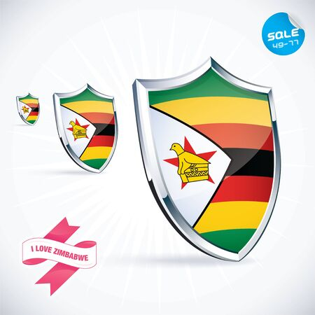 I Love Zimbabwe Flag Illustration Vector