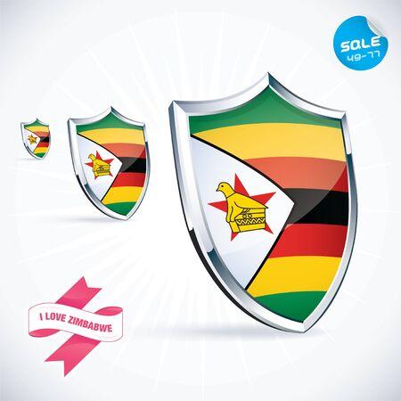 zimbabwe: I Love Zimbabwe Flag Illustration Illustration