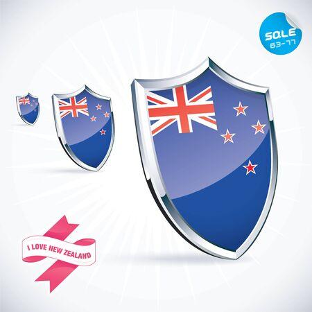new zealand flag: I Love New Zealand Bandiera Illustrazione Vettoriali