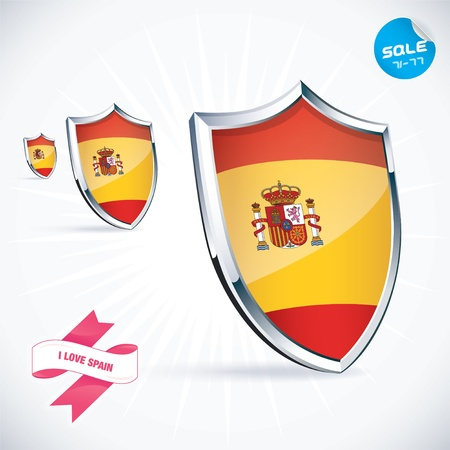I Love Spain Flag Illustration Vector