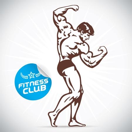 alba�il: Gimnasio Bodybuilder Modelo Ilustraci�n