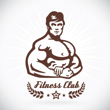 sexy muscular man: Bodybuilder Fitness Model Illustration