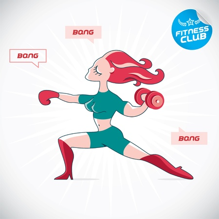 redhair: Gymnastic Fitness Woman Illustration