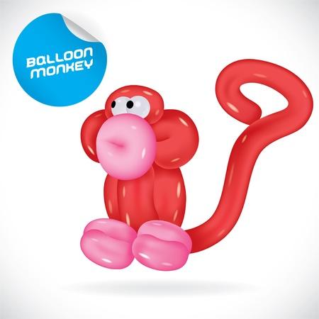 Glossy Balloon Monkey Illustration