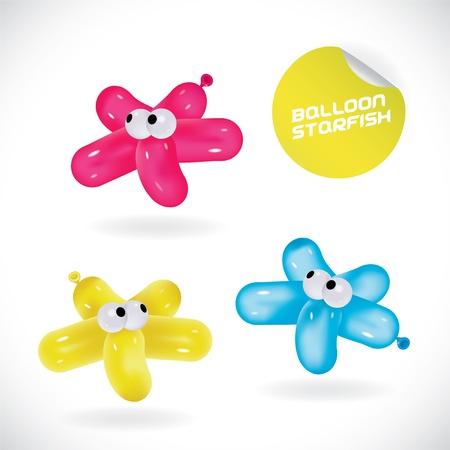 Glossy Balloon Starfish Illustration