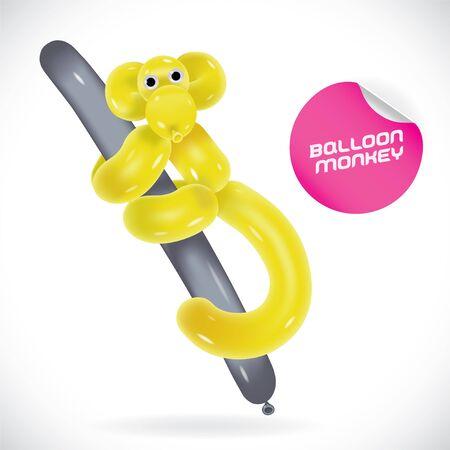 balloon animals: Glossy Balloon Monkey Illustration