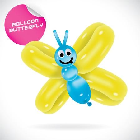 Glossy Balloon Butterfly Illustration Illustration