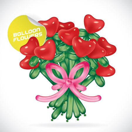Glossy Balloon Valentines Day Flowers Illustration, Icons, Button, Sign, Symbol, Logo with Sticker for Family, Festival Celebration, Baby, Children, Teenager, People Illustration