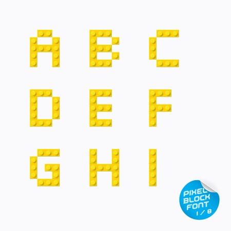 tipos de letras: Pixel único alfabeto bloque, Cartas, Ilustración, señal, icono, símbolo para el bebé, Familia, Educación Vectores
