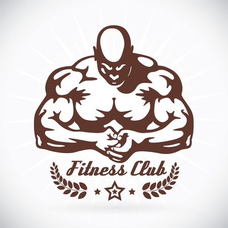 triceps: Bodybuilder Fitness Model Illustration, Sign, Symbol, Button, Badge, Icon, Logo for Family, Baby, Children, Teenager, People, Tattoo