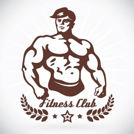 trizeps: Bodybuilder Fitness Model Illustration, Zeichen, Symbol, Knopf, Abzeichen, Icon, Logo f�r Familie, Baby, Kinder, Teenager, Menschen, Tattoo