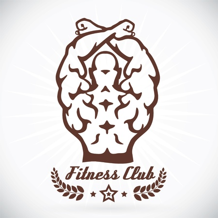 Bodybuilder Fitness Model Illustration, Sign, Symbol, Button, Badge, Icon, Logo for Family, Baby, Children, Teenager, People, Tattoo Stock Vector - 19200605