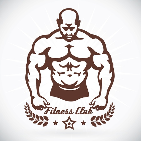 sexy muscular man: Bodybuilder Fitness Model Illustration, Sign, Symbol, Button, Badge, Icon, Logo for Family, Baby, Children, Teenager, People, Tattoo