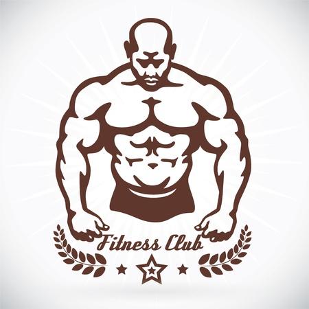 arm muskeln: Bodybuilder Fitness Model Illustration, Zeichen, Symbol, Knopf, Abzeichen, Icon, Logo f�r Familie, Baby, Kinder, Teenager, Menschen, Tattoo