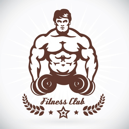 toned: Bodybuilder Fitness Model Illustration, Sign, Symbol, Button, Badge, Icon, Logo for Family, Baby, Children, Teenager, People, Tattoo