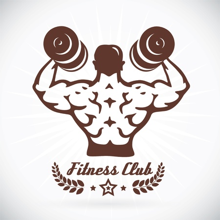 Bodybuilder Fitness Model Illustration, Sign, Symbol, Button, Badge, Icon, Logo for Family, Baby, Children, Teenager, People, Tattoo Stock Vector - 19200607