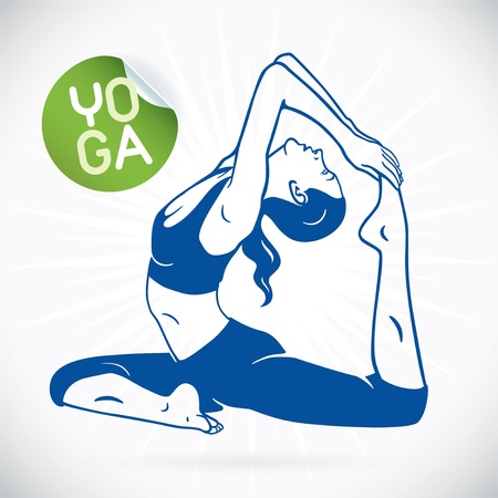 Yoga Fitness Model Illustration, Sign, Symbol, Button, Badge, Icon, Logo for Family, Baby, Children, Teenager, People, SPA