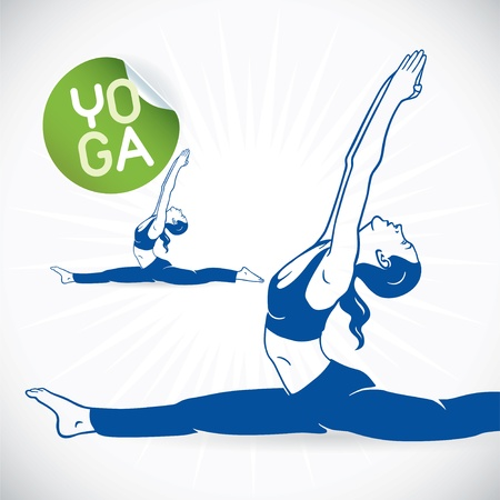abdominal exercise: Yoga Fitness Model Illustration, Sign, Symbol, Button, Badge, Icon, Logo for Family, Baby, Children, Teenager, People, SPA