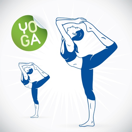 yoga silhouette: Yoga Fitness Model Illustration, Sign, Symbol, Button, Badge, Icon, Logo for Family, Baby, Children, Teenager, People, SPA