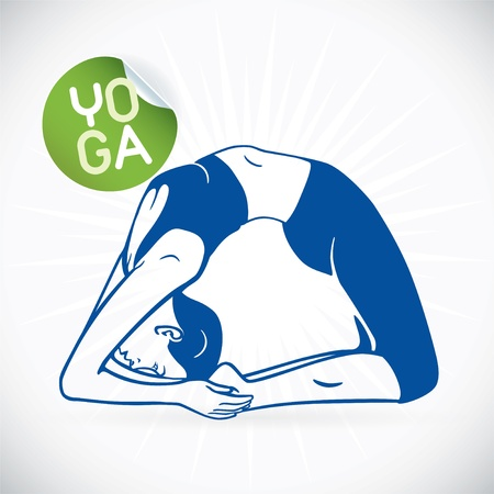 Yoga Fitness Model Illustration, Sign, Symbol, Button, Badge, Icon, Logo for Family, Baby, Children, Teenager, People, SPA Vector