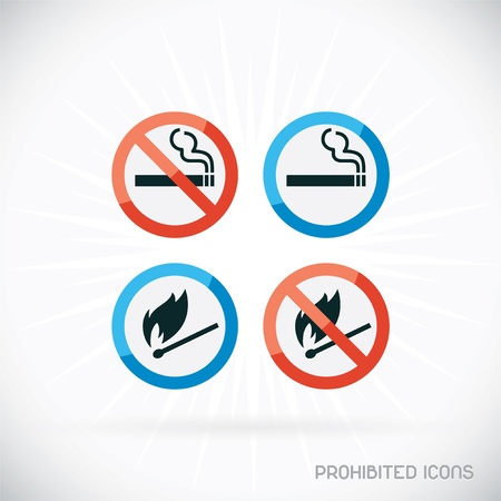 Prohibited Icons Illustration, Sign, Symbol, Button, Badge, Logo for Family, Baby, Children, Teenager, People Vector