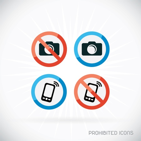 Prohibited Icons Illustration, Sign, Symbol, Button, Badge, Logo for Family, Baby, Children, Teenager, People Stock Vector - 19535557