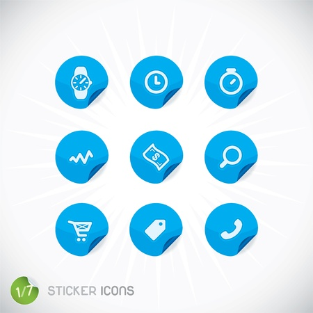 Sticker Icons, Symbols, Buttons, Sign, Emblem, Logo for Web Design, User Interface, Mobile Phone, Baby, Children, People Stock Vector - 20014561