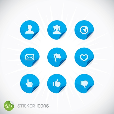 Sticker Icons, Symbols, Buttons, Sign, Emblem, Logo for Web Design, User Interface, Mobile Phone, Baby, Children, People Vector