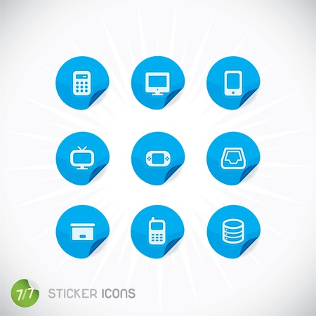 Sticker Icons, Symbols, Buttons, Sign, Emblem, Logo for Web Design, User Interface, Mobile Phone, Baby, Children, People Illustration