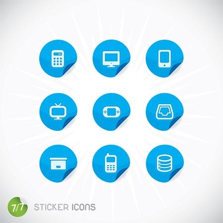 Sticker Icons, Symbols, Buttons, Sign, Emblem, Logo for Web Design, User Interface, Mobile Phone, Baby, Children, People Illustration