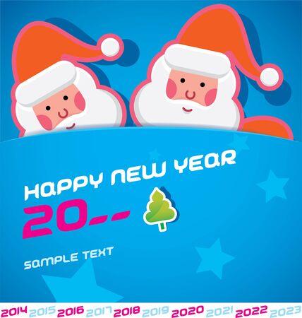 Merry Christmas, Santa Claus, New year 2014, 2015, 2016, 2017, 2018, 2019, 2020, 2021, 2022, 2023 Card, Badge, Icon, Symbol Vector