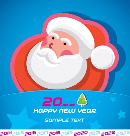 Joyeux Noël, le Père Noël, Nouvel an 2014, les 2015, 2016, 2017, 2018, 2019, 2020 2021, 2022, 2023 Card, insigne, icône, symbole Banque d'images - 20423420