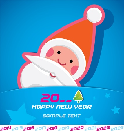 Merry Christmas, Santa Claus, New year 2014, 2015, 2016, 2017, 2018, 2019, 2020, 2021, 2022, 2023 Card, Badge, Icon, Symbol Vector