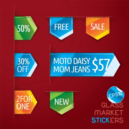 Glass Market Stickers Illustration, Icons, Button, Sign, Symbol Vector