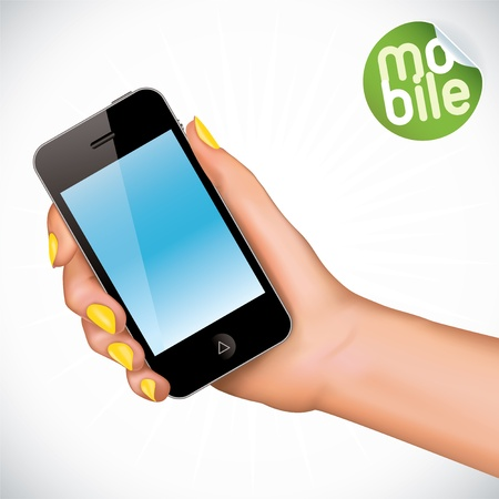 phone vector: Vector Hand Holding Touchscreen Mobile Phone Illustration, Icons, Sign, Badge With Sticker Illustration