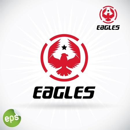 flying stars: Eagle Symbol Illustration With Sticker Illustration