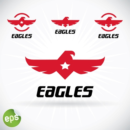 falcon wings: Eagle Symbol Illustration With Sticker Illustration