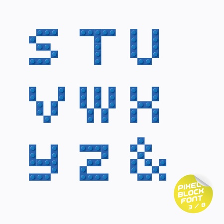 Unique Pixel Block Alphabet With Sticker Vector