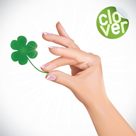 family celebration: Vector Hand Holding Clover Illustration, Icons, Button, Sign, Symbol, Logo with Sticker for Family, Celebration, Lovers, People